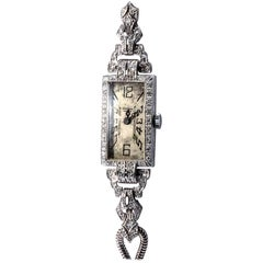 Universal Genève ladies white Gold Diamond art déco Rectangular Wristwatch, 1925