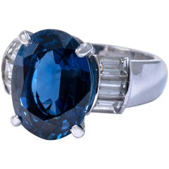 Certified 9.80 Carat Not Treated Natural Sapphire Diamond Platinum Ring Band