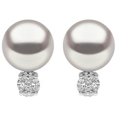 Yoko London South Sea Pearl and Diamond Ear Studs Set in 18 Karat White Gold