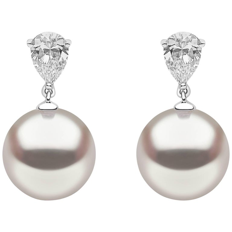 Yoko London South Sea Pearl and Diamond Drop Earrings Set in 18 Karat White Gold