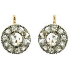 1900s Diamond 3.50 carat Two-Color Gold Cluster Earrings