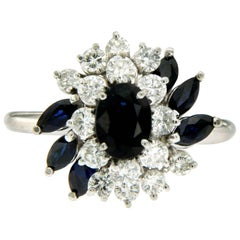 Diamond Sapphire Gold Cluster Ring