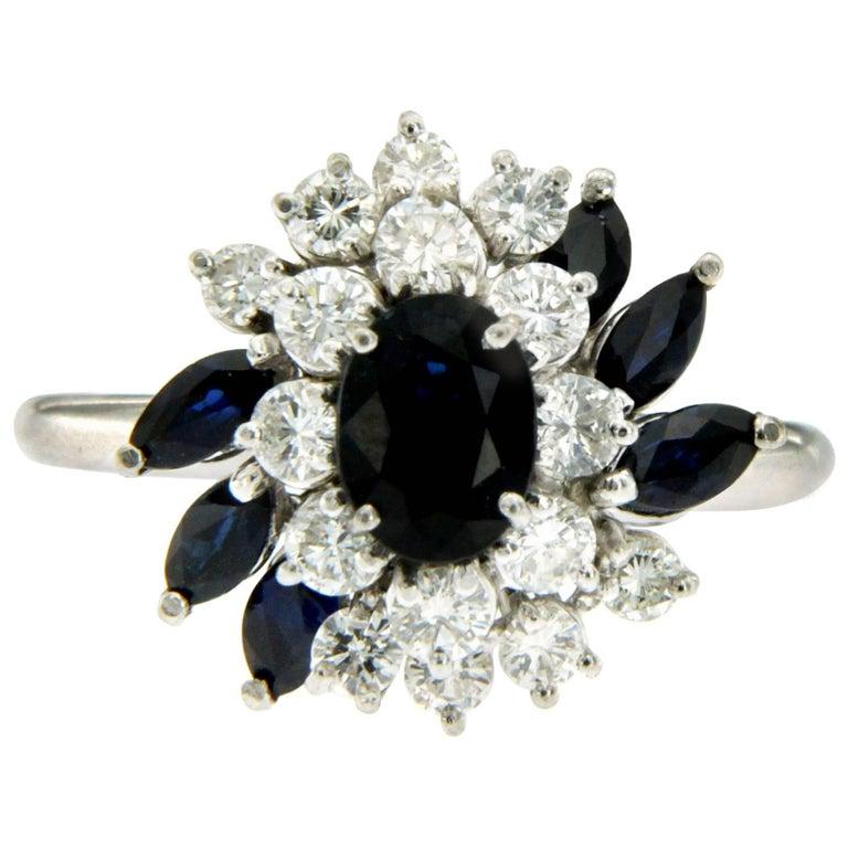 Diamond Sapphire Gold Cluster Ring