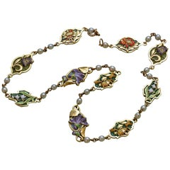 Art Nouveau Plique-a-Jour Enamel, Pearl and Yellow Gold Flower Necklace