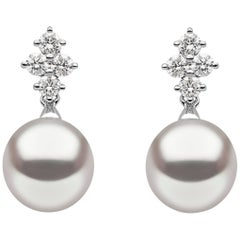 Yoko London South Sea and Diamond Drop Earrings Set in 18 Karat White Gold