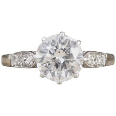 Art Deco 1.10ct Diamond  18ct White Gold Engagement Ring with Diamond Shoulders