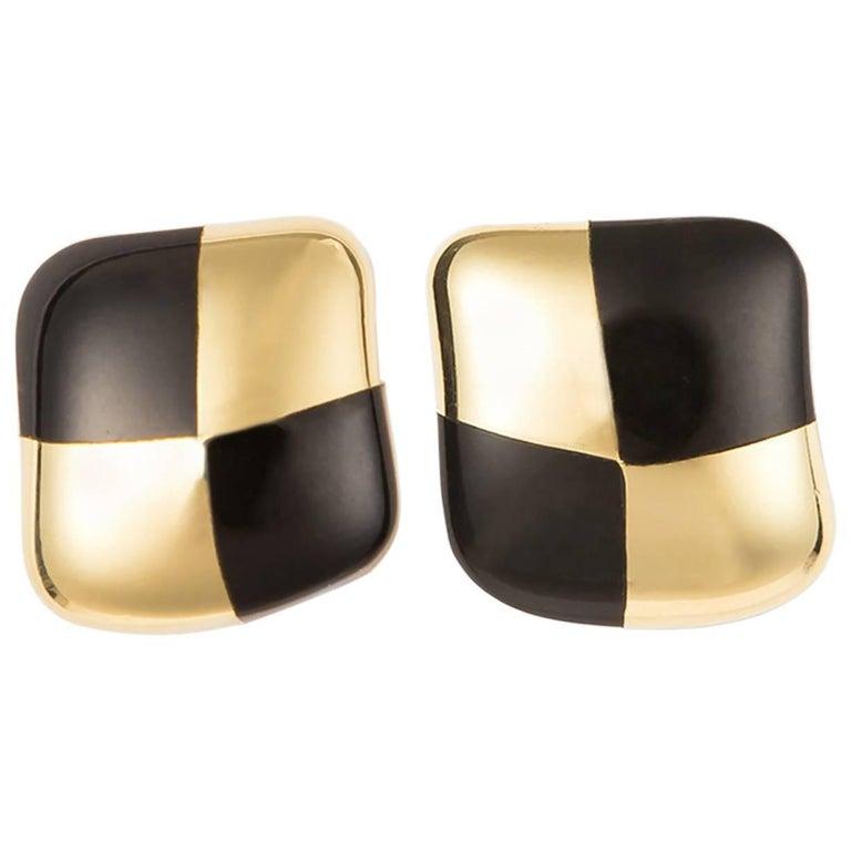 Angela Cummings Gold and Black Jade Earrings