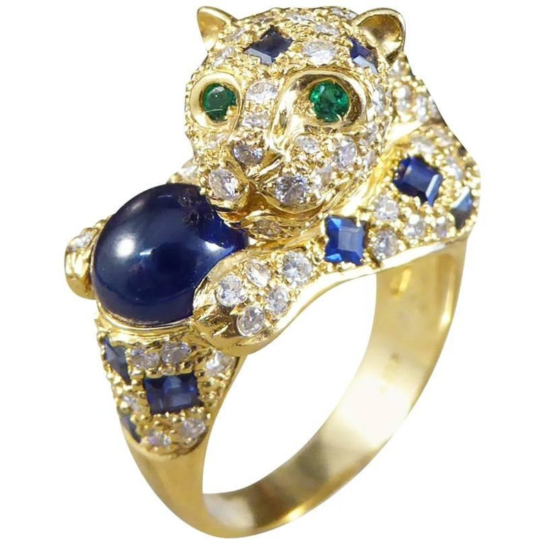 Blue and Green Sapphire, Diamond and Emerald Set 18 Carat Gold Cat Ring