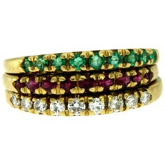 Vintage Diamond Ruby Emerald Stackable Yellow Gold Rings