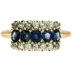 Victorian Sapphire Diamond Gold Engagement Ring