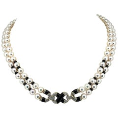 Akoya Japanese Double Strand Pearl Diamond Necklace 18 Karat Yellow Gold