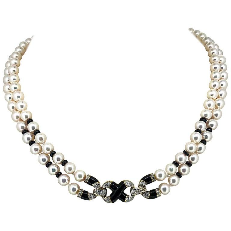 Akoya Japanese Double Strand Pearl Diamond Necklace 18 Karat Yellow Gold For Sale