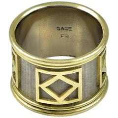 Elizabeth Gage Wide Two-Color Gold Ring