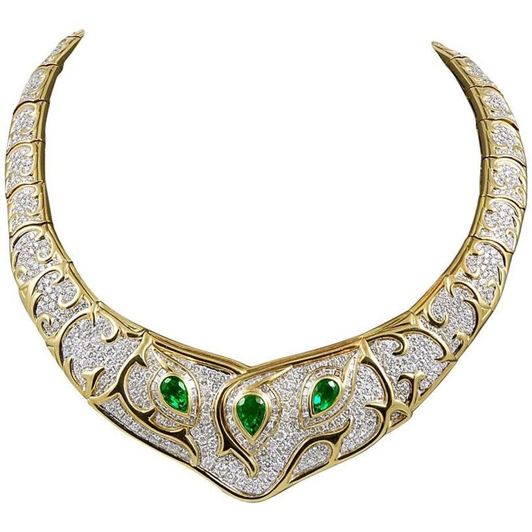 18 Karat Gold Diamond, Emerald Necklace
