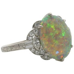Hancocks Opal and Diamond Ring Set in Platinum with Diamond Shoulders