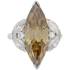 6.26 Carat Fancy Colored Marquise Diamond Ring with Diamond-Set Shoulders