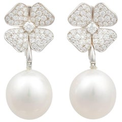 Ella Gafter White South Sea Pearl Diamond Flower Dangle Drop Clip-on Earrings
