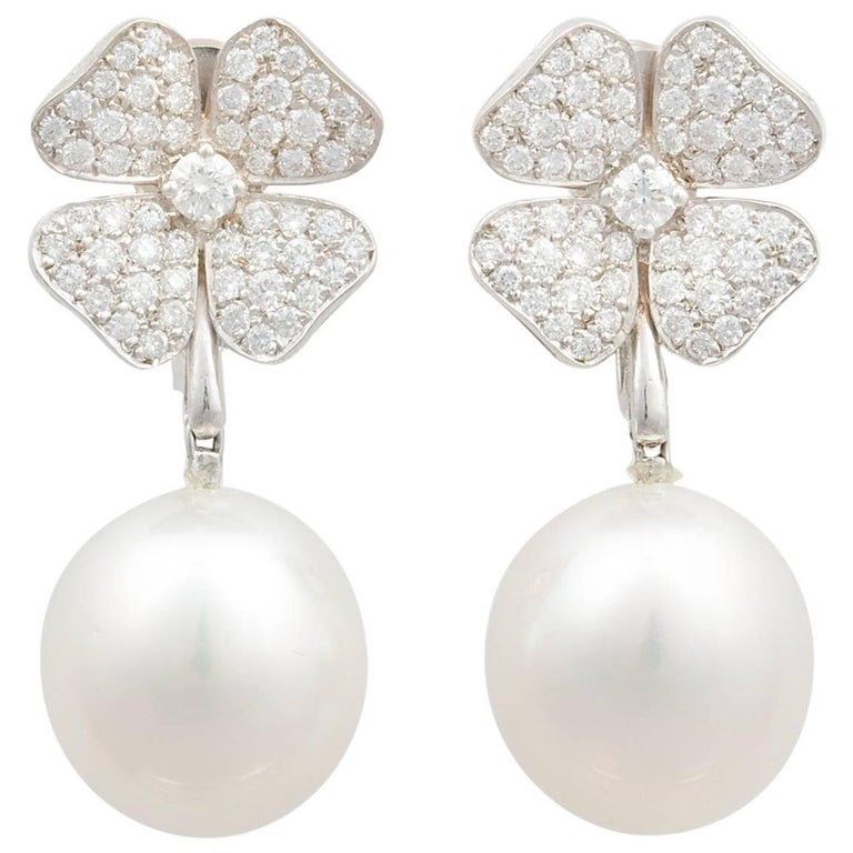 Ella Gafter White South Sea Pearl Diamond Drop Clip On Earrings For