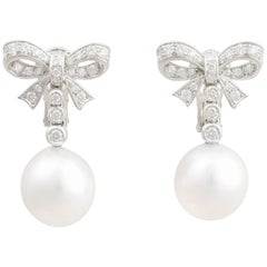 Ella Gafter White South Sea Pearl Diamond Bow Dangle Drop Clip-on Earrings
