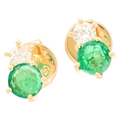 18 Karat Yellow Gold Emerald and Diamond Stud Earrings