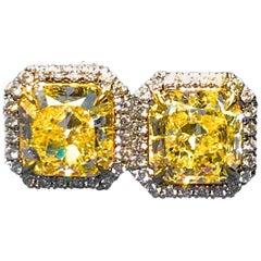 4.12 Carat -Fancy Light Yellow Halo Style Diamond Earrings