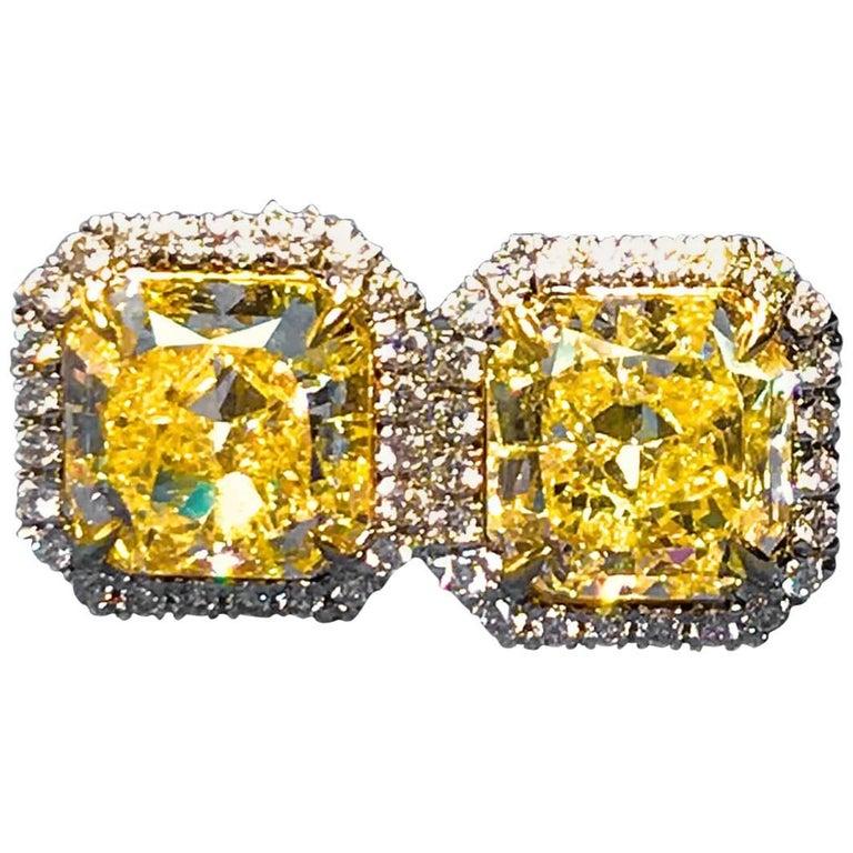 4.12 Carat -Fancy Light Yellow Halo Style Diamond Earrings For Sale
