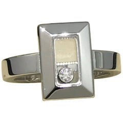 Chopard Happy Diamonds 18k Karat White Gold Rectangular Shape Ring 82/6729