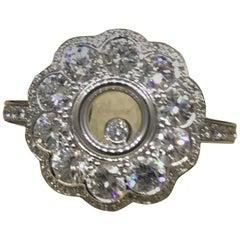 Chopard Happy Diamonds 18 Karat White Gold Pave Diamond Flower Ring 826569
