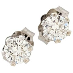 14 Karat White Gold .40 Carat Diamond Stud Earrings SI2/H