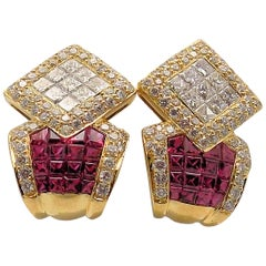 Ruby and Diamond Pierced Earrings