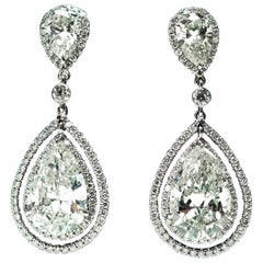 9.07 Carat Dangling Pear Shape Double Halo Diamond Earrings