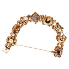 1940s Gold Slide Bracelet with Citrine, Sapphire, Rubies, Garnets and Pearls