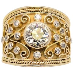 REDUCED!!! Tapered Diamond Band in 14 Karat Yellow Gold