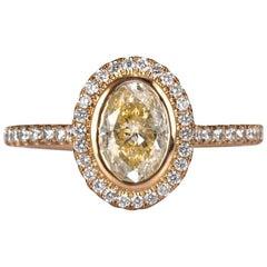 Mark Broumand 1.38 Carat Fancy Light Brown Yellow Oval Cut Diamond Ring
