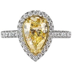 Mark Broumand 2.47 Carat Fancy Yellow Pear Shaped Diamond Engagement Ring