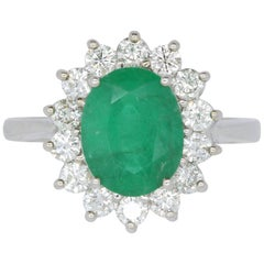 2.51 Carat Oval Emerald Halo Diamond Ring