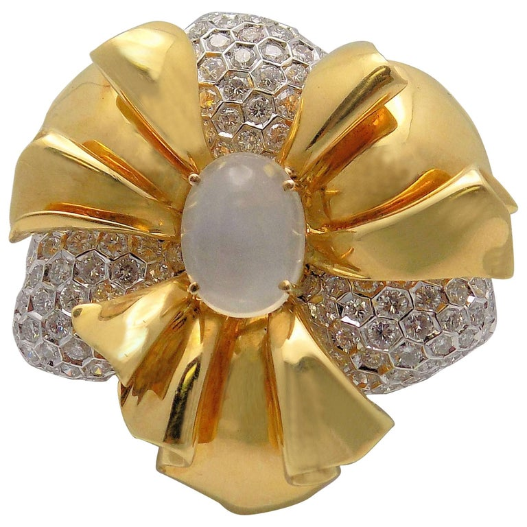David Webb Moonstone and Diamond Brooch in 18 Karat Yellow and White Gold