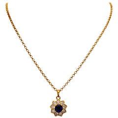 Ladies 18 Karat Gold Diamond Sapphire Pendant 2.50 Carat