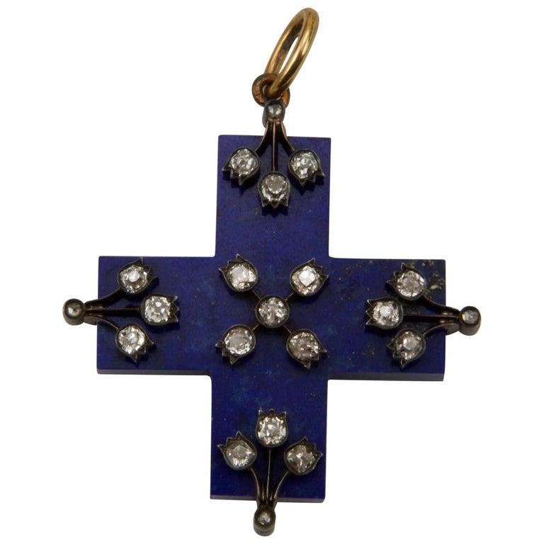 19th Century Lapis-Lazuli and Diamond Cross