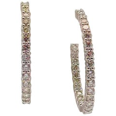 Diamond Inside-Outside Hoop Earrings by Roberto Coin