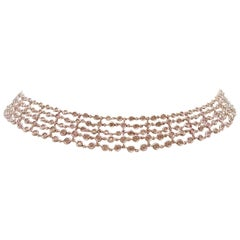 Favero Five-Row Diamond Necklace in 18 Karat White Gold