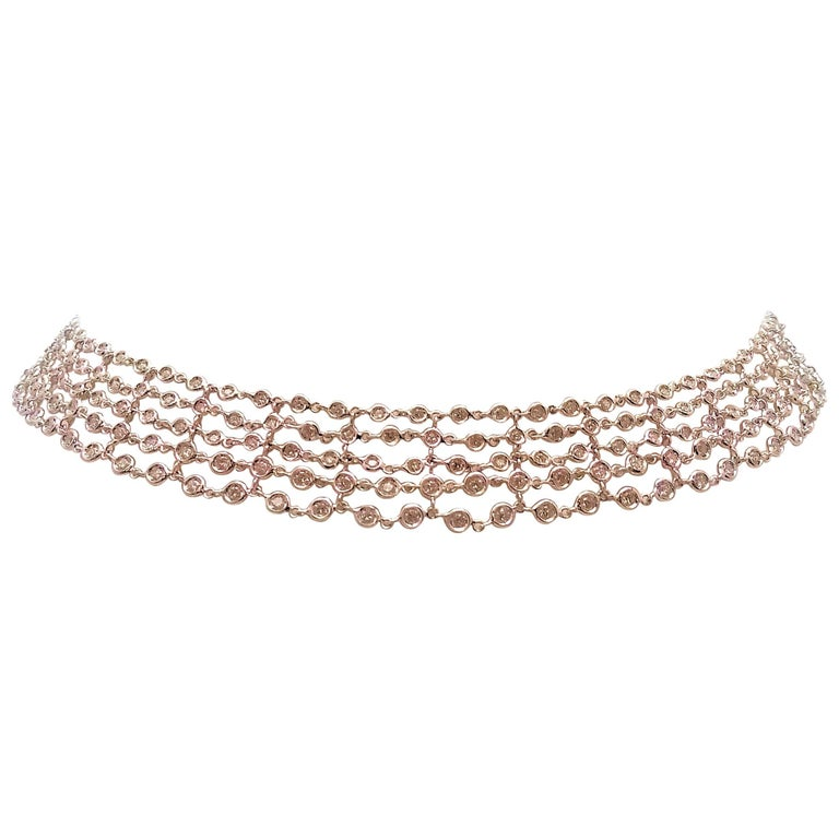Favero Five-Row Diamond Necklace in 18 Karat White Gold