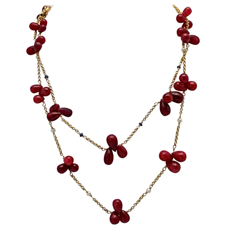 Ruby Bead Drop Necklaces Seed Pearls Sapphire Doubled 14 Karat