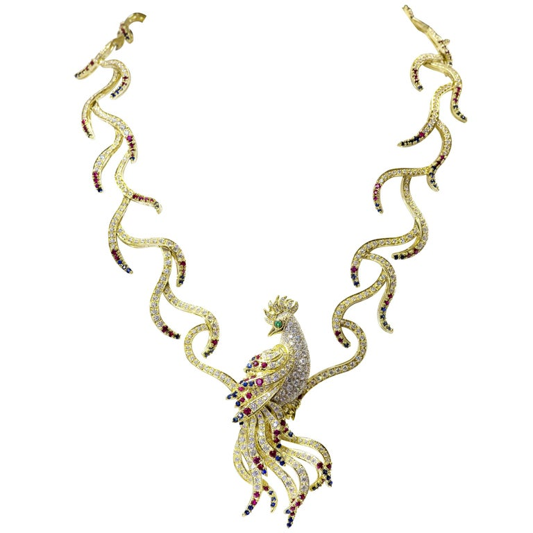 The Bird of Paradise Necklace - Diamond, Ruby, Emerald and Sapphire Necklace For Sale