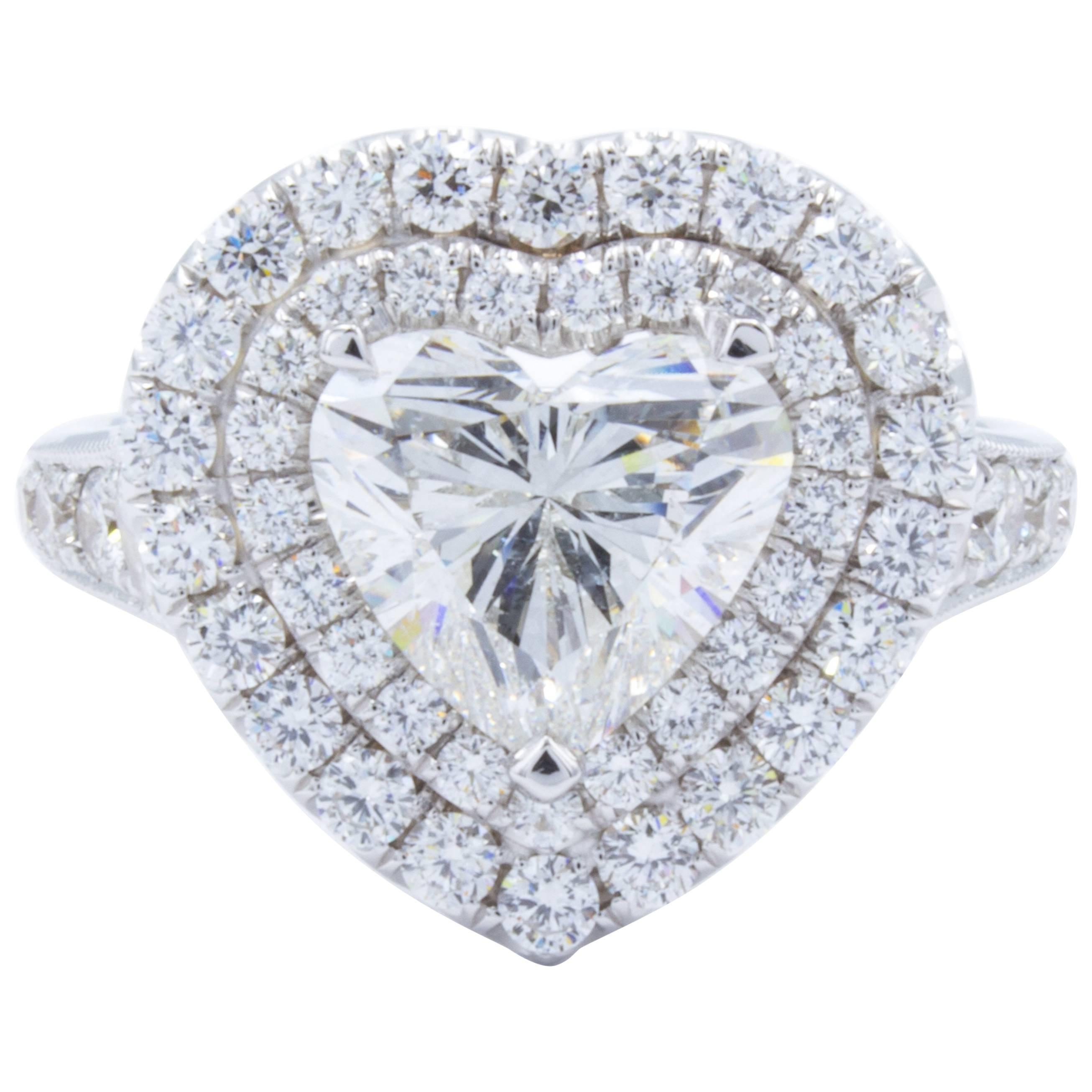 David Rosenberg 2.01 Carat Heart Shape Halo G/SI2 GIA Engagement Diamond Ring