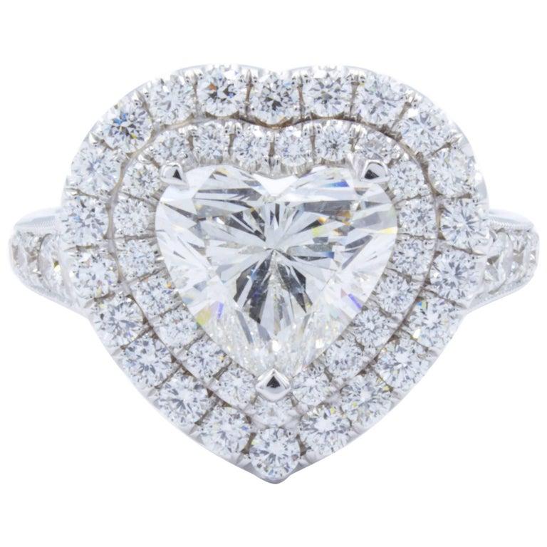 David Rosenberg 2.01 Carat Heart Shape G/SI2 GIA Diamond Engagement Ring