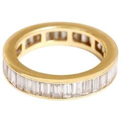 Beautiful 18 Karat Yellow Gold Diamond Eternity Band Ring