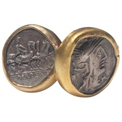 Antique Silver Roman Coin Set in 22K-21K Gold Cuff Links with Diamonds Cufflinks