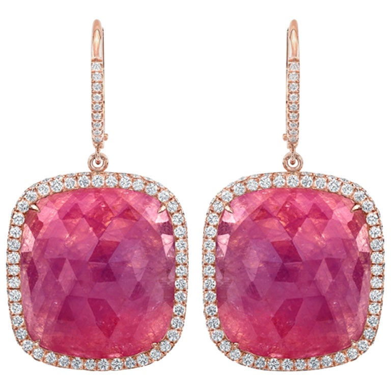 37.10 Carat Cushion Pink Sapphire Slice Dangle Earrings with Diamond Halos