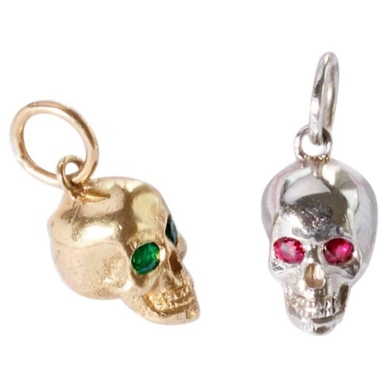 14 Karat Yellow Gold Baby Skull Pendant with Emerald Eyes